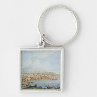 Mount Vesuvius, plate 36 from 'Campi Phlegraei: Ob Silver-Colored Square Keychain