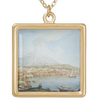 Mount Vesuvius, plate 36 from 'Campi Phlegraei: Ob Square Pendant Necklace