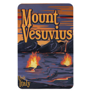 Mount Vesuvius volcano travel poster Rectangular Photo Magnet
