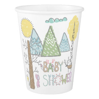 Mountain Adventure Baby Shower Watercolor forest Paper Cup