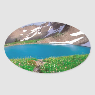 Mountain Alpine Tranquility Olympic Park Oval Sticker