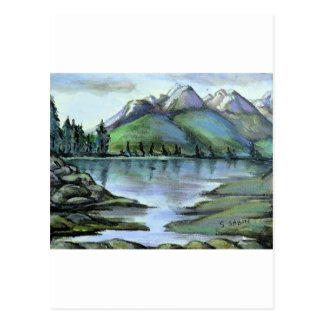 Mountain and lake view postcards