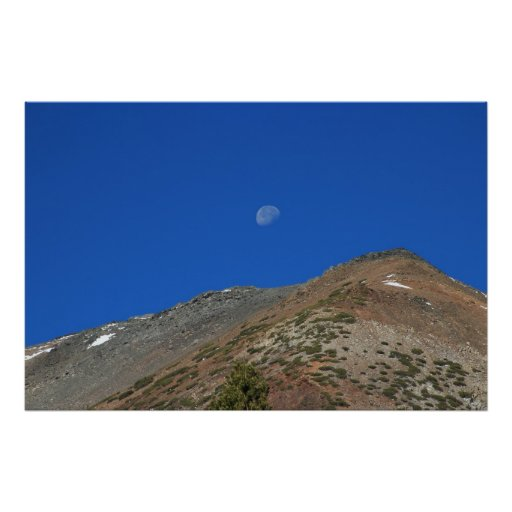 Mountain and Moon Poster