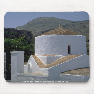 Mountain and whitewashed building, Lindos, Rhodes, Mouse Pad