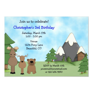 Mountain Animals Birthday Invitation for Boys