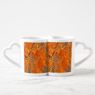 Mountain Ash Leaves in Autumn Couple Mugs
