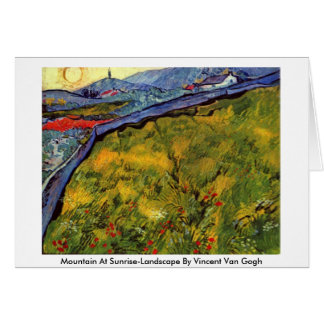 Mountain At Sunrise-Landscape By Vincent Van Gogh Greeting Cards