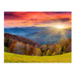Mountain autumn landscape with forest post card