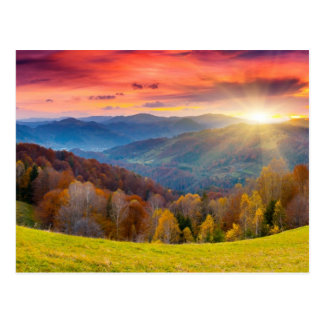 Mountain autumn landscape with forest postcard