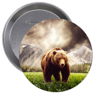 Mountain Bear Pinback Button