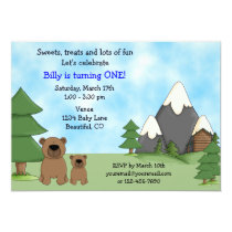Mountain Bears 1st Birthday Invitation for Boys
