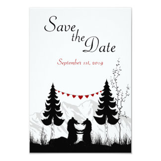 Mountain Bears Save the Date Wedding Announcement