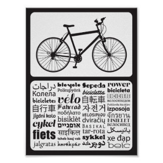 Mountain Bike - Bicycle in Different Languages Poster
