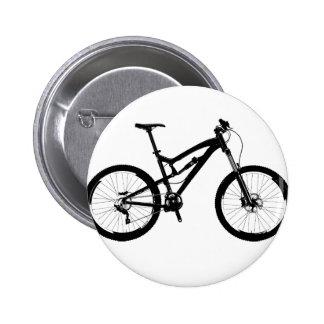 Mountain Bike - Black on White Button