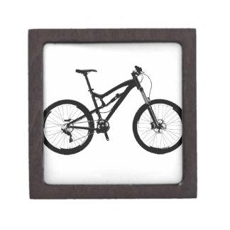 Mountain Bike - Black on White Keepsake Box