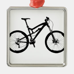 Mountain Bike - Black on White Metal Ornament