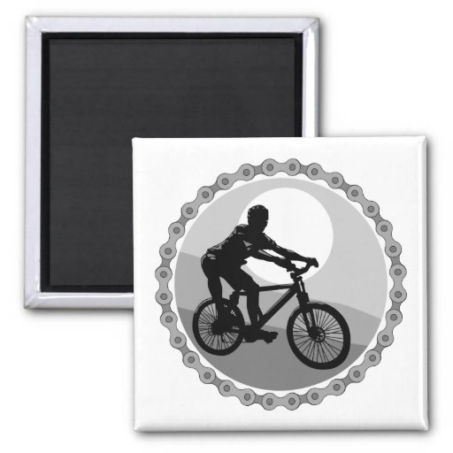 mountain bike chain sprocket grayscale 2 inch square magnet