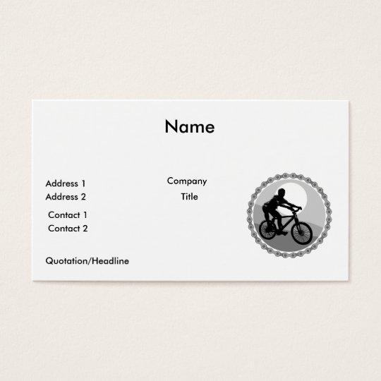 mountain bike chain sprocket grayscale business card