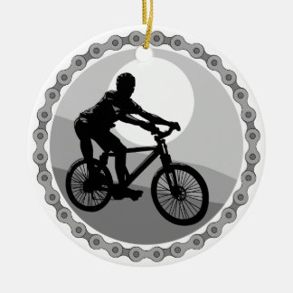 mountain bike chain sprocket grayscale ceramic ornament