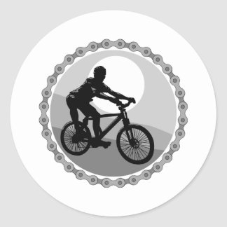 mountain bike chain sprocket grayscale classic round sticker