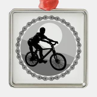 mountain bike chain sprocket grayscale christmas tree ornament