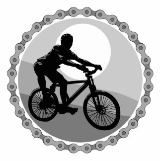 mountain bike chain sprocket grayscale standing photo sculpture