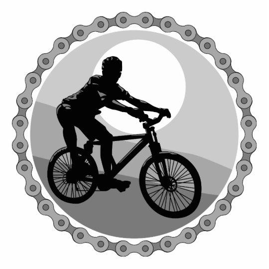 mountain bike chain sprocket grayscale statuette