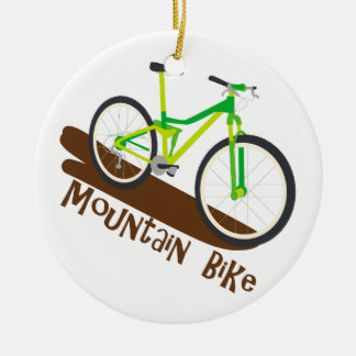 Mountain Bike Double-Sided Ceramic Round Christmas Ornament