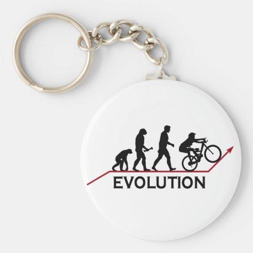 Mountain Bike Evolution Basic Round Button Keychain