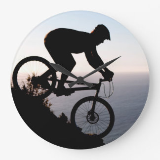 Mountain Bike Rider. Lions Head, Cape Town Large Clock
