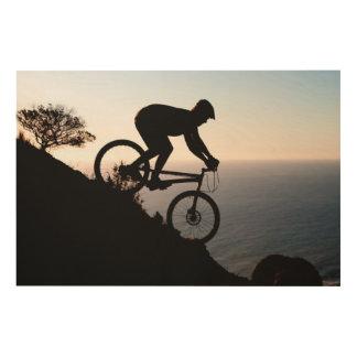 Mountain Bike Rider. Lions Head, Cape Town Wood Wall Art