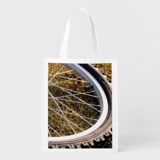 Mountain Bike Tire Closeup Grocery Bag