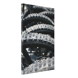Mountain bike tires stretched canvas prints