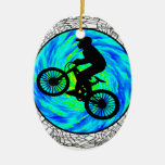 MOUNTAIN BIKE TRACKED Double-Sided OVAL CERAMIC CHRISTMAS ORNAMENT