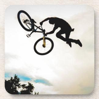 Mountain Biker Air Time Silhouette Beverage Coasters
