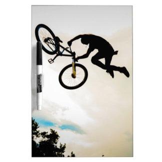 Mountain Biker Air Time Silhouette Dry Erase White Board
