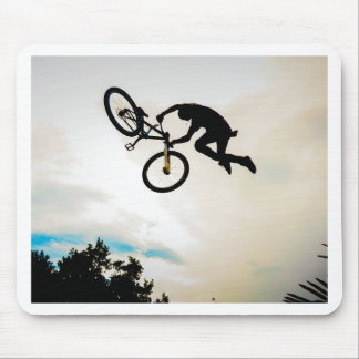 Mountain Biker Air Time Silhouette Mouse Pad