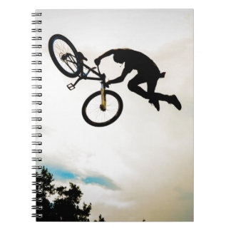 Mountain Biker Air Time Silhouette Spiral Note Books
