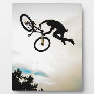 Mountain Biker Air Time Silhouette Photo Plaque