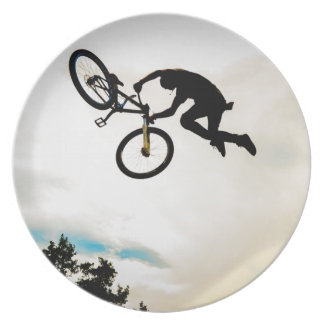 Mountain Biker Air Time Silhouette Party Plates