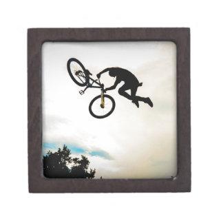 Mountain Biker Air Time Silhouette Premium Keepsake Boxes