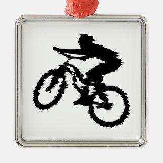 Mountain Biker Art Square Metal Christmas Ornament