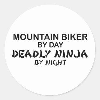 Mountain Biker Deadly Ninja by Night Classic Round Sticker