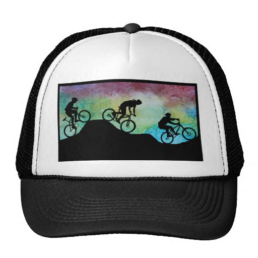 Mountain Bikers Against the Sunset Trucker Hat