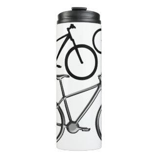 Mountain bikes on white thermal tumbler. thermal tumbler