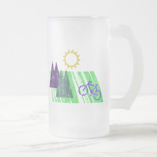 Mountain Biking Abstract Frosted Glass Beer Mug