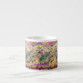 mountain biking art 6 oz ceramic espresso cup