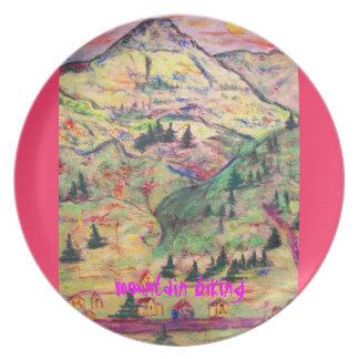 mountain biking art plate