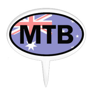 Mountain Biking Australia Flag Cake Topper