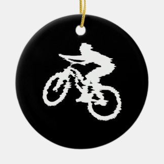 Mountain Biking Fast Double-Sided Ceramic Round Christmas Ornament